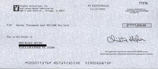 Michael Ruse's check from Playboy