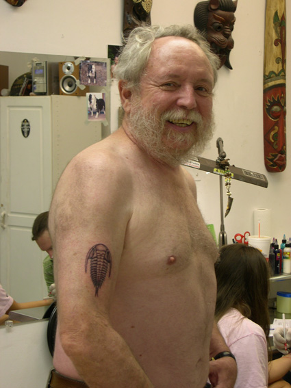 That lovely trilobite tattoo now resides on Michael Ruse's right arm,
