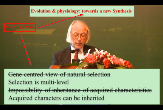 "Dennis Noble's pivotal point as we move to a new synthesis for inheritance and mechanisms of ""evolution"""