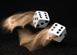 A pair of dice showing how 12 edges and 8 corners contribute to a flat random distribution of outcomes as they first fall under the mechanical necessity of gravity, then tumble and roll influenced by the surface they have fallen on. So, uncontrolled small differences make for maximum uncertainty as to final outcome. (Another way for chance to act is by  quantum probability distributions such as tunnelling for alpha particles in a radioactive nucleus)